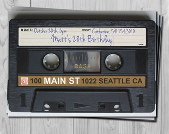 80's and 90's Tape Cassette Birthday Invitation - 90's Digital Birthday Party Invitations by Printadorable - Customizable