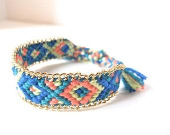Chain Embellished Friendship Bracelet // Diamond Pattern // Other Patterns Available