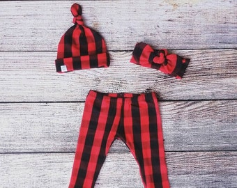 Buffalo plaid leggings with matching knot headband OR beanie / Baby outfit / Toddler outfit / lumbarjack