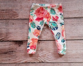 Baby/Toddler/girls leggings. Floral print. Made from soft, stretchy, knit fabric.