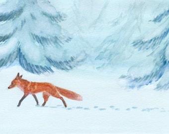Original Winter Fox Watercolor Painting