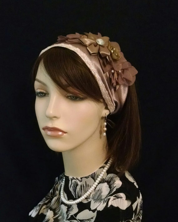 Champagne satin and floral soft headband
