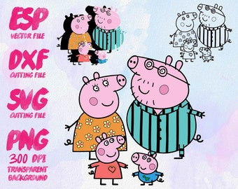 Pappa Pig  Clipart , SVG Cutting , ESP Vectors files , T shirt , iron on , sticker ,Personal Use