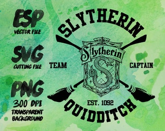 Slytherin Quidditch Clipart , SVG Cutting , ESP Vectors files , T shirt , iron on , sticker ,Personal Use