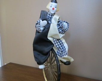 Vintage Enesco Porcelain Clown On Unicycle Circus Decor