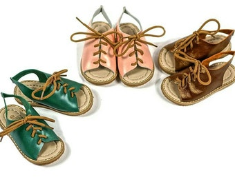 Genuine Leather Lace Sandals