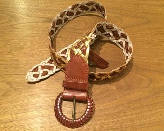 Brown & Gold Braided Belt - MEXX