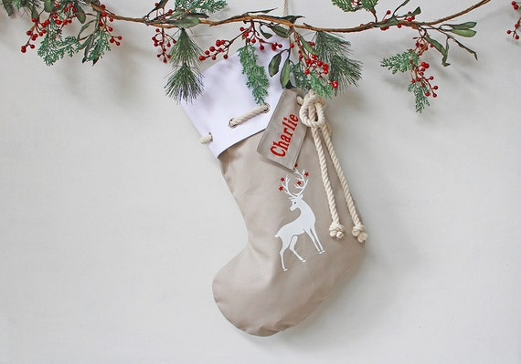 Personalised Christmas Stocking in stone with Reindeer, Christmas Decor, Santa Stocking, Christmas Decoration,
