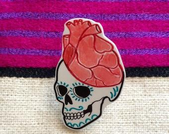 Heart Skull Pin