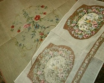Antique Needlepoint Project Lot