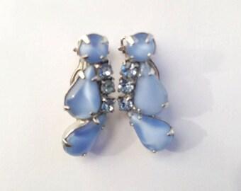 Vintage Blue Glass Moonstone & Rhinestone Earrings