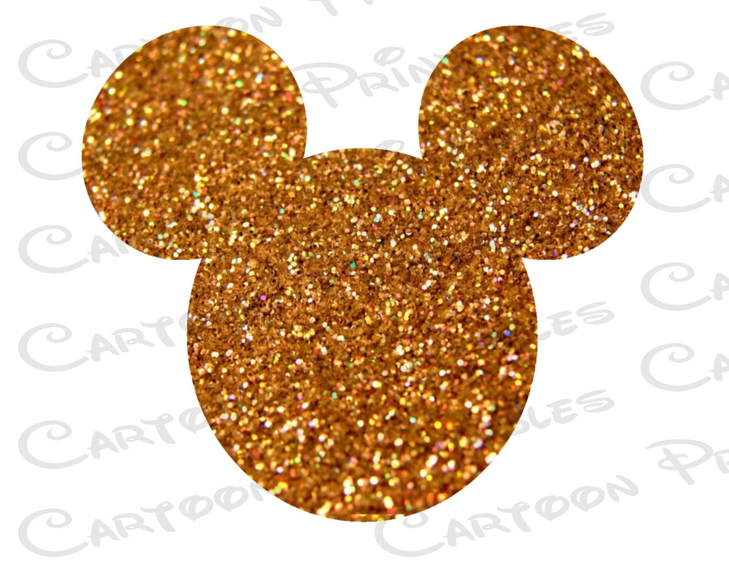 Mickey Mouse Head Gold Glitter Bling Image Mouse Ears