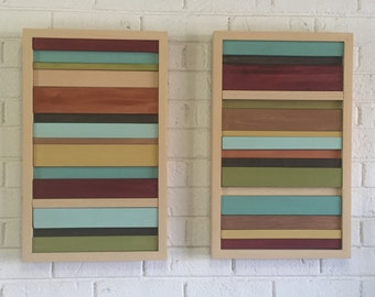 Chunking Stripes - Wood Wall Decor - Set of Two