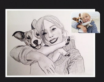 Custom portrait. You and your pet. Charcoal. Original.