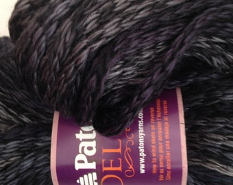 Patons Delish Yarn, Color-Black Berry #87040, Content-Acrylic and wool blend, Weight-super bulky #6