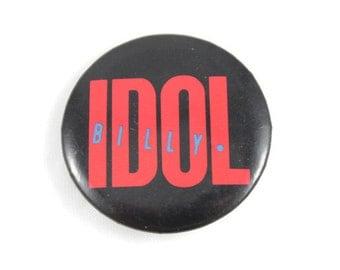 """1984 Billy Idol 1.25"""" Pinback Button Vintage"""
