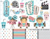 80%OFF - Movie Clipart, Movie Graphics, COMMERCIAL USE, Cinema Clipart, Planner Accessories, Movie Party, Film, Theater, Popcorn