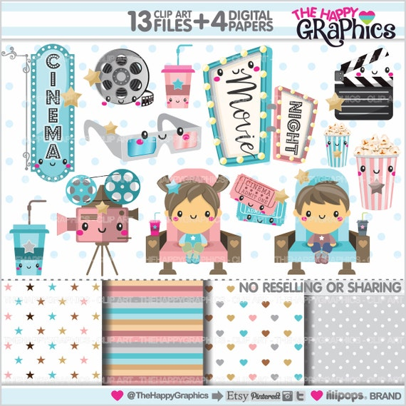 Movie Clipart Graphics COMMERCIAL USE Cinema