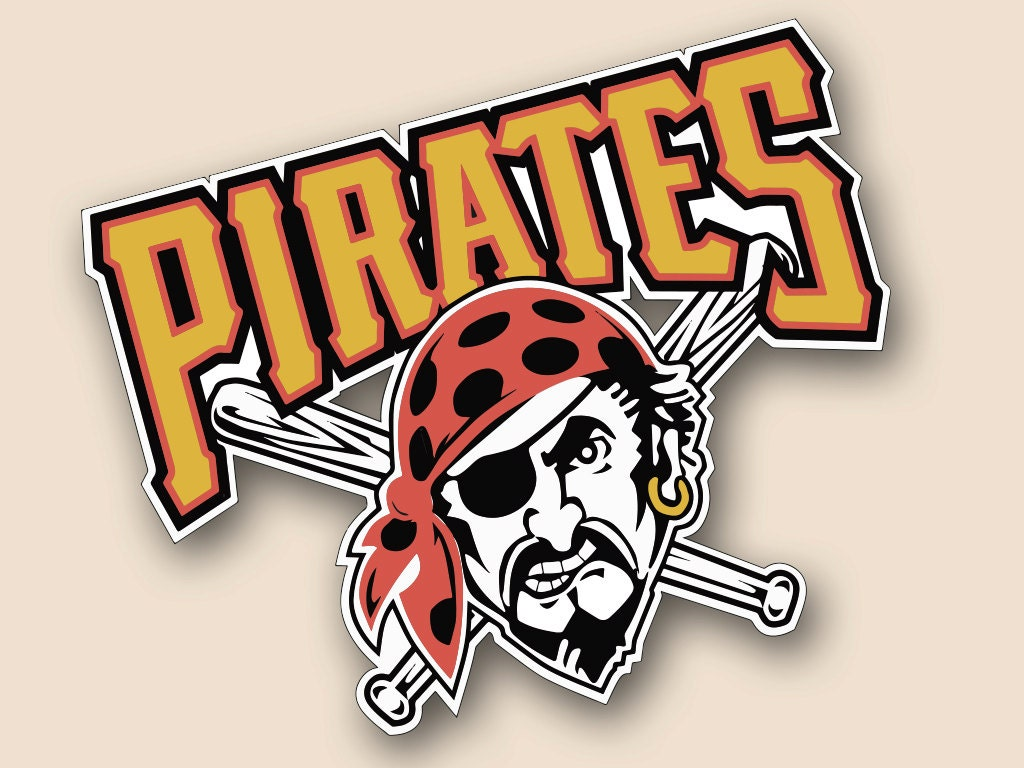 pittsburgh pirates set of 2 vinyl decal logo wall