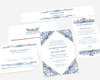 Blue Floral Wedding Invitation Mediterranean Greek Invitation Mexican Wedding Invitation Pocketfold Wedding Invitation
