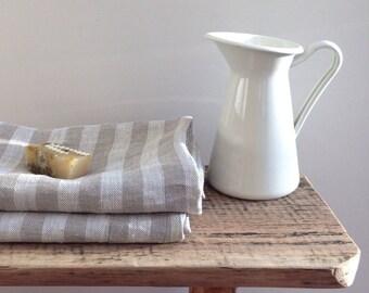 Linen bath towel, striped natural bath towel, 100% linen bath towel, massage towel, towel for men, gift for him, gift for her, mens gift
