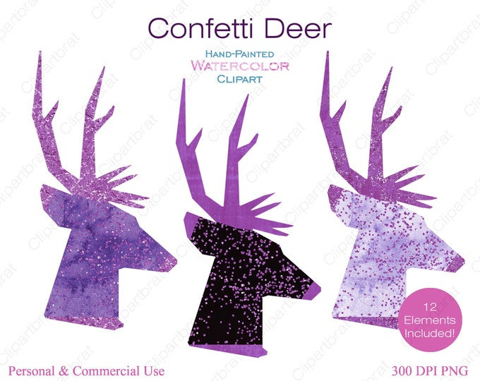 WATERCOLOR REINDEER Clipart Commercial Use Clipart 12 Watercolor Deer Head Graphics with Metallic Purple Confetti Stag Buck Antlers Clip art