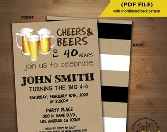 Cheers and beers birthday invitation adult party kraft invite any age Instant Download YOU EDIT TEXT and print invite 5243