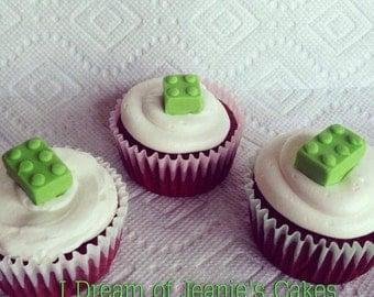 Lego Block, Fondant, Edible, Cupcake & Cake Toppers