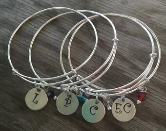 Single Initial or Monogram Adjustable Bracelet