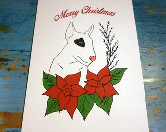Bullterrier Christmas card - PACK OF 5