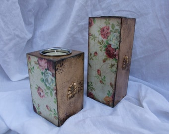 set of 2 candle holders,wooden tea light holders,decoupaged tea light holders,home decor