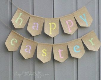Happy Easter Banner, Spring Burlap Banner, Easter Garland, Burlap Bunting, Burlap Garland, Easter Decor, Rustic Easter, Easter Bunny Banner