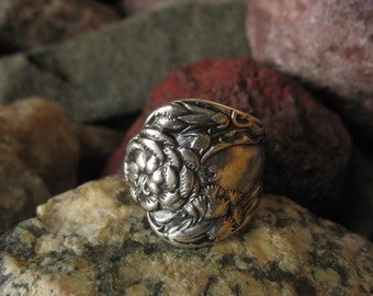 Antique Sterling Silver Carnation Spoon Ring R104 Size 4.75 Jewelry Western Skies Silver