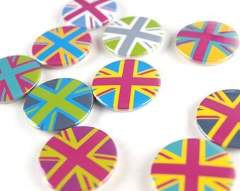Bright Union Flag badges set of 10