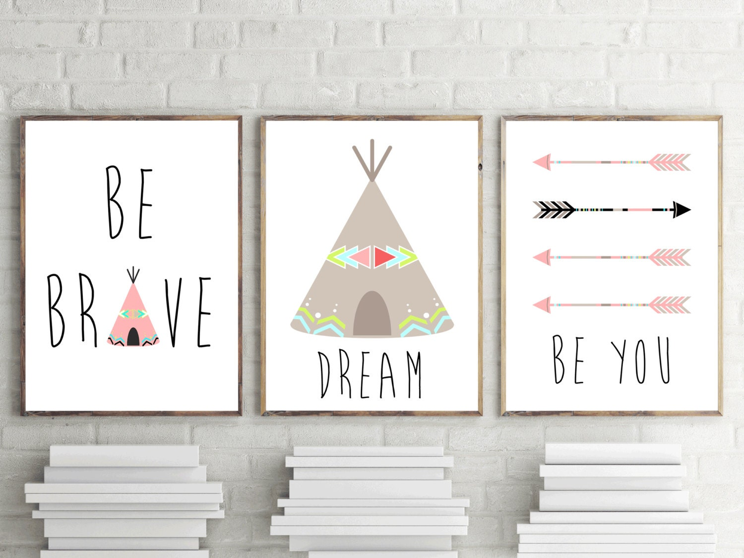 Set Of 3 Nursery Prints Girls Bedroom Wall Art Nursery