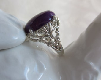 Sterling Silver Purple Mountain Jade Statement Ring