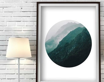 Scandinavian Art Print, Mountain Wall Art, Nordic Design, Mountain photography, Geometric Circle Wall Art, Digital Download, Abstract Art