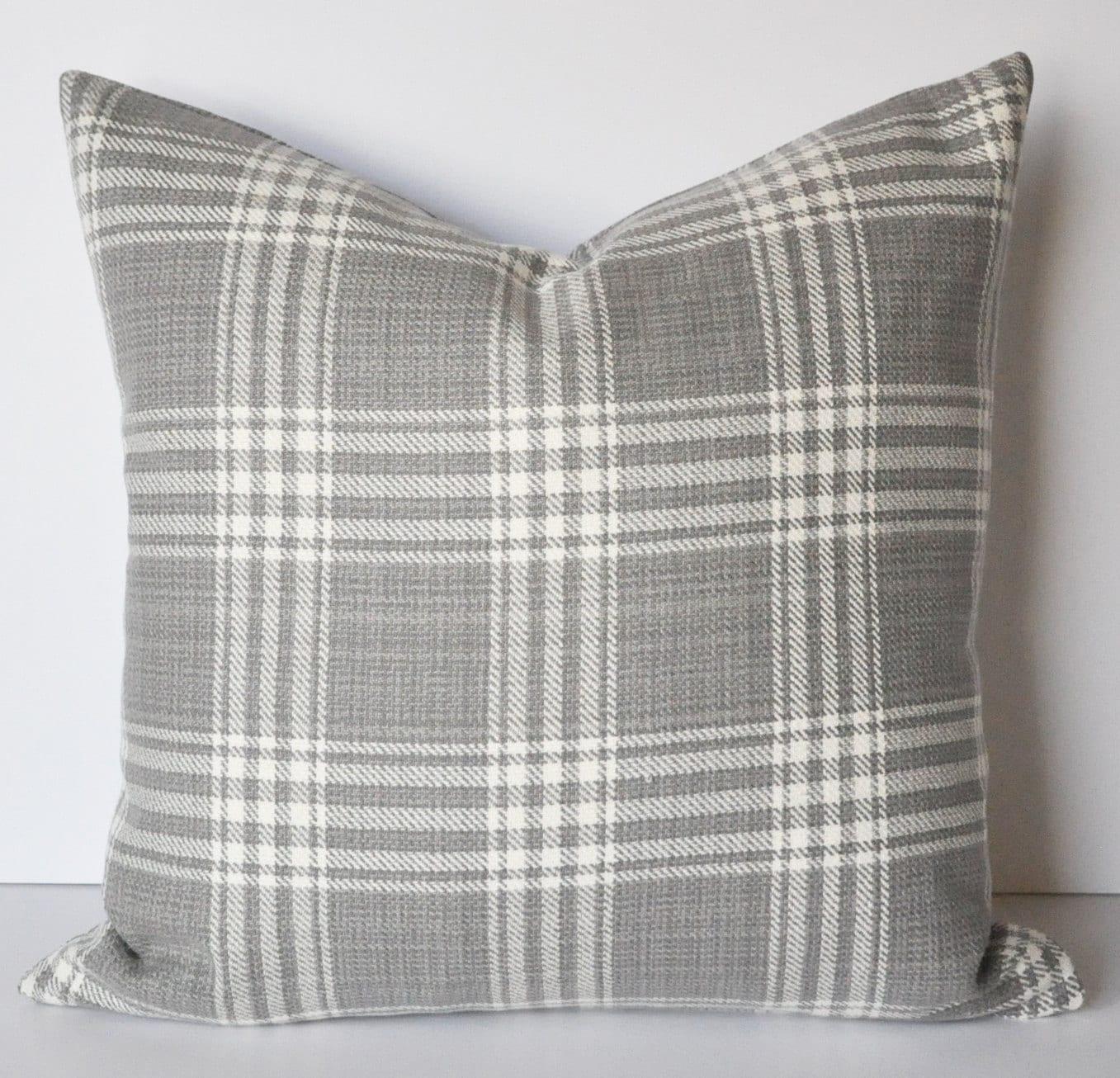 Plaid Pillow Cover Gray And White Plaid Buffalo Plaid