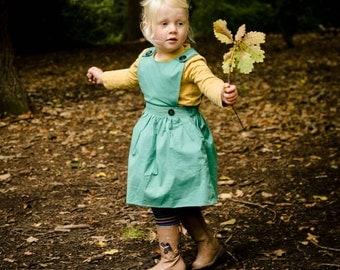 Kids pinafore dress, spring wedding, easter dress, girls dress, pinafore, vintage baby, party dress, teal dress, toddler pinafore.