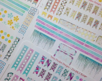Zen Series Weekly Planner Stickers for Erin Condren and other vertical planners (all 4 Colorways - 8 sheets)