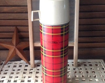 HUGE Tartan Plaid Thermos 1 Quart Size Collectible