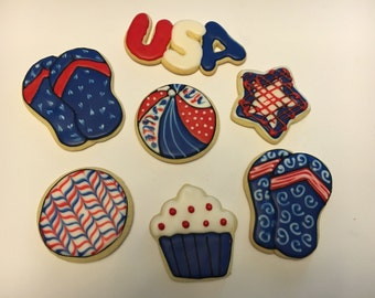 Red, white & blue theme Decorated Cookies