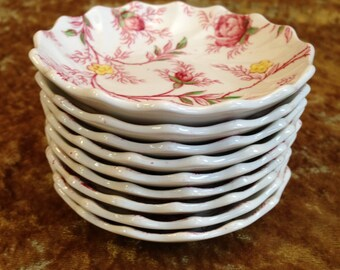 set of 9 ROSEBUD CHINTZ butter pats by Copeland Spode discontinued pink rose bud plates England vintage dish