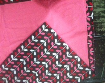 Red, pink, white vine on brown, double layered oversized flannel receiving blanket, baby girl, shower gift, tummy time, car eat cover,
