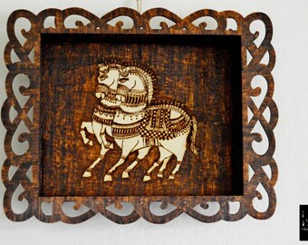 Wooden tray,tray, wood burned tray, serving tray, horse design gift, unique home decor, one of kind, home decor, trays, kitchen decor,gifts
