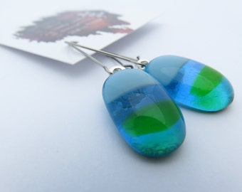 Green and Ocean Blue  Kiln Fused Glass Drop Earrings