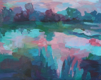 "Original Oil Painting ""Ossabaw Sunset"" by Nicole Augustine, 20"" x 30"", Abstract Landscape Pastel Blue Pink"