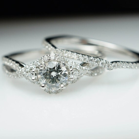 Criss Cross Bridal Set! 14k White Gold Natural Diamond Engagement Ring and Wedding Band Solitaire, Halo, and Accents