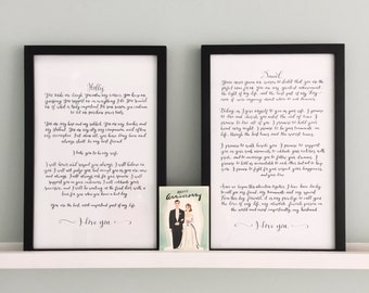 Custom Calligraphy Wedding Vows – bespoke wedding vows – hand lettered wedding vows – hand written wedding vows – personalized vows