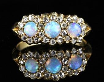Antique Victorian Opal & Diamond Trilogy Ring Circa 1880